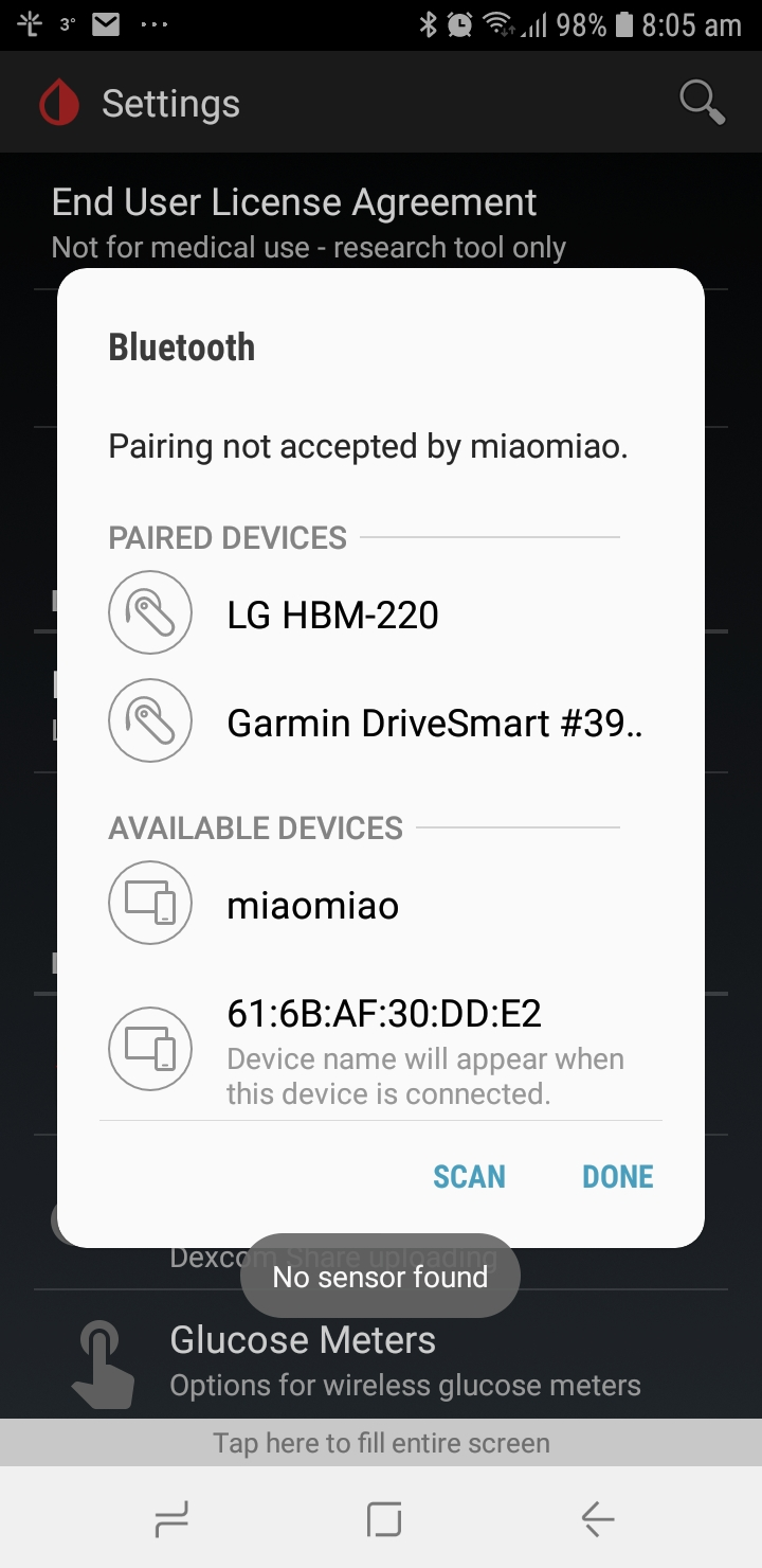 Type 1 - Miao Miao not connecting with Bluetooth | Diabetes