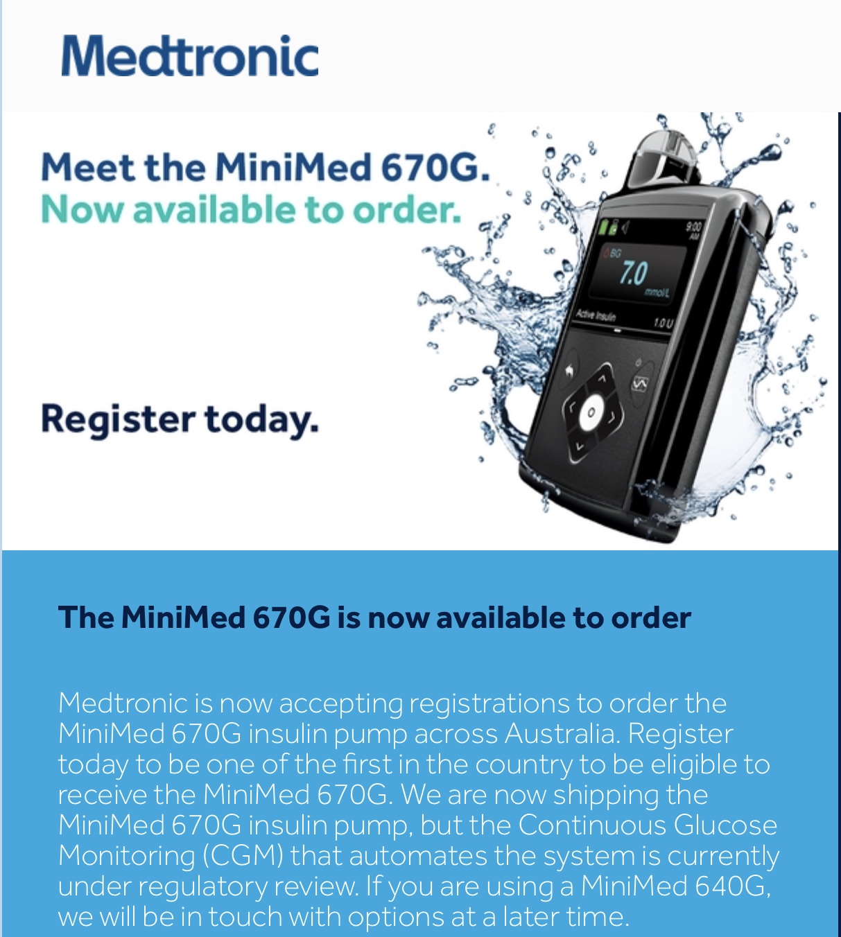 Medtronic 670g Being Released in Australia | Diabetes Forum • The