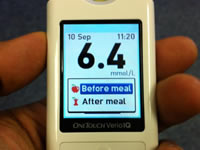 Use a blood glucose meter to test your blood glucose levels
