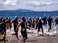Triathlons involve periods of swimming, cycling and running